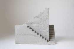 concrete sculpture staircase artwork architecture model casting modern art geometrical 3d three dimensional artwork cement stair going upward, architectural architecture model miniature surrealistic