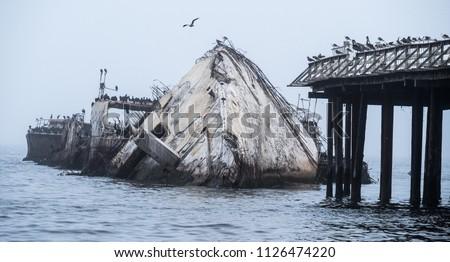 Concrete ship wreck, Aptos, California