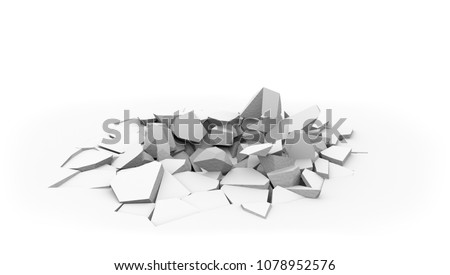 Concrete slab floor shell hole isolated on white background. Fallen ponderous object ground dint. Crashed floor surface. 3D rendering.