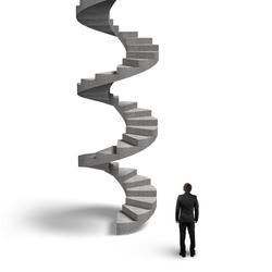 Concrete spiral staircase with man looking up, isolated on white background.
