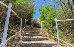 concrete stair step up to the hill nature background