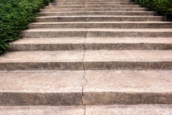 Concrete staircase cracked background. Broken stone staircase surface