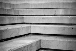 Concrete stairs going up diagonally black and white