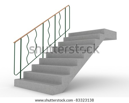 Concrete stairs with green railings on a white background ?1 - stock photo