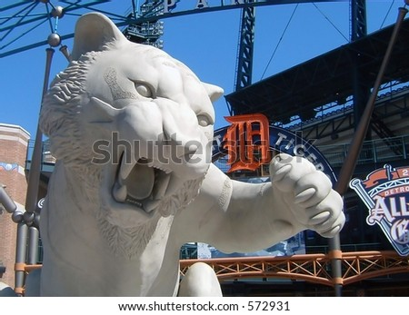Concrete Tiger at the Entrance to Comerica Park in Detroit - stock photo