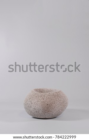 Concrete vase on isolated white background #784222999