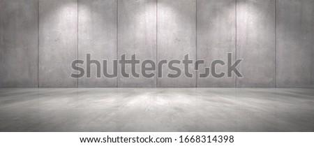 Concrete Wall Background with Floor Wide Empty Garage Scene