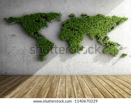 Concrete wall in interior of room with vertical garden in form of world map. 3D illustration.