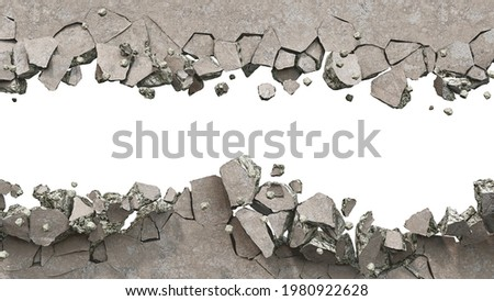 Concrete wall is broken up into the pieces, a horizontal breakdown on a white background, 3d illustration Stock photo ©