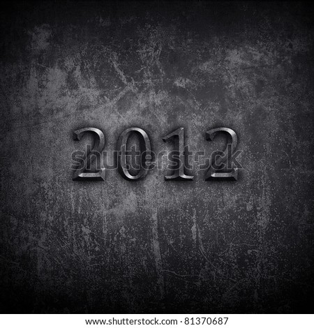 """concrete wall with """"2012"""" carving"""
