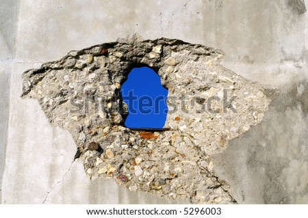 Concrete wall with hole background