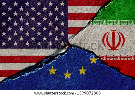 concrete wall with painted united states, european union and iran flags #1399072808