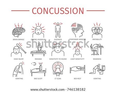 Concussion. Symptoms, Treatment. Line icons set. Flat signs for web graphics