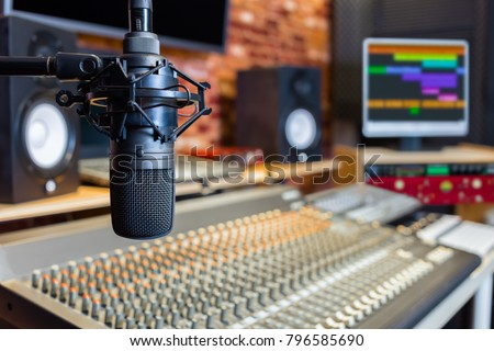 condenser microphone in recording studio #796585690