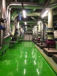 Condenser water pump motor at chiller industrial plant.