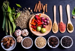 Condiments, seasoning, spice, flavor, flavoring, zest, ingredient, herb