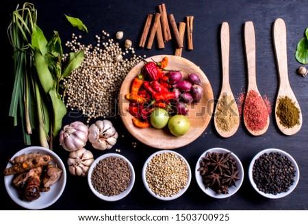 Condiments, seasoning, spice, flavor, flavoring, zest, ingredient, herb Stock photo ©