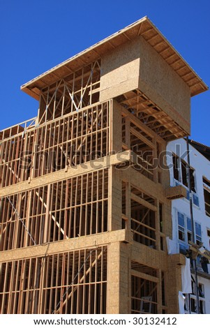 Condo construction with wood frames