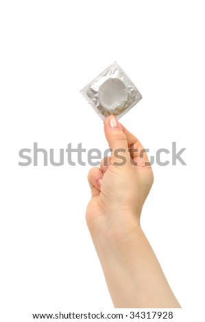 condom in female hand isolated on a white background