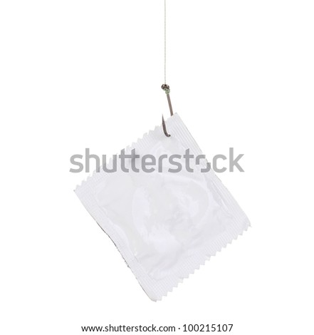 Condom on hook isolated on white