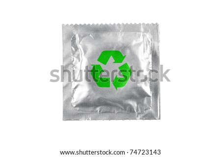 Condom recycle isolated on white background