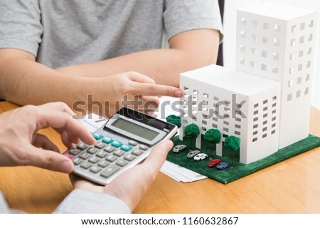 condominium and home loan interest rates from bank concept Foto stock ©