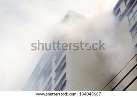 condominium or apartment burning.