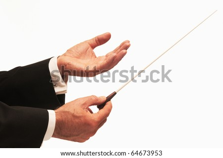 Conductor conducting an orchestra isolated on white background