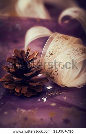 Cone and christmas gift ribbon