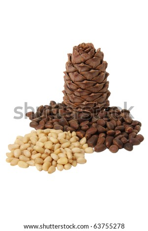 Cone of Siberian cedar pine and its seeds, isolated on white background