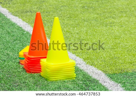Cone Tool for Training on Artificial Grass in Soccer Academy.  464737853 7fa49029d