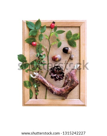 Cones, acorns, wild rose, green leaves and dry, brown, twigs, trendy, beautifully decorated in a wooden frame, home decor on the theme of nature, a poster on the wall