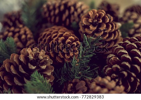 Cones and spruce branches are a festive decoration for the New Year and Christmas. The focus is a few cones in the center of the frame. The foreground and foreground are blurred. #772829383