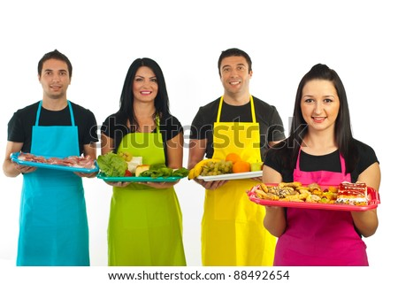 Confectioner woman standing in front of market workers team isolated on white background