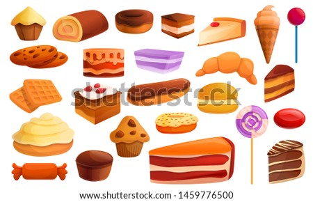 Confectionery icons set. Cartoon set of confectionery icons for web design