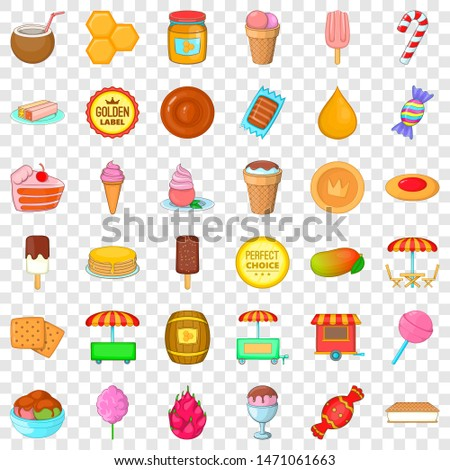 Confectionery icons set. Cartoon style of 36 confectionery icons for web for any design