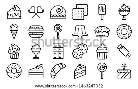 Confectionery icons set. Outline set of confectionery icons for web design isolated on white background
