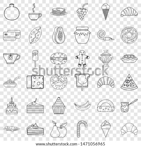 Confectionery icons set. Outline style of 36 confectionery icons for web for any design