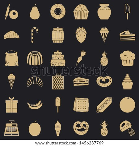 Confectionery icons set. Simple style of 36 confectionery icons for web for any design