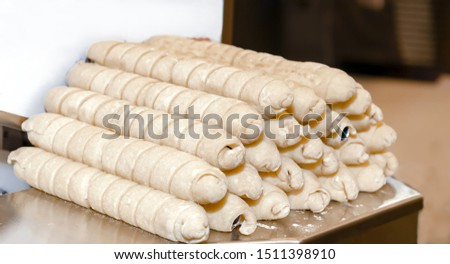 confectionery, rolls of pastry for baking, semi-finished confectionery, close-up