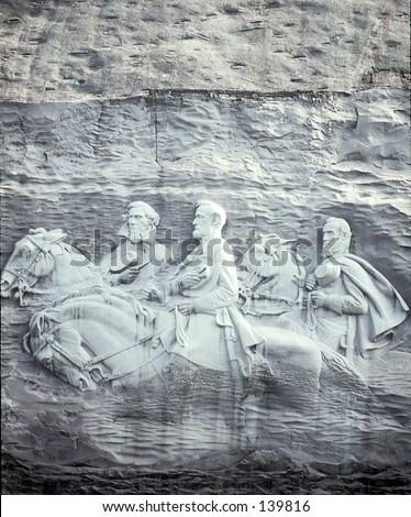 Confederate Generals Stone Mountain Ga - stock photo