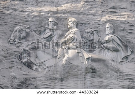 Confederate Leaders of Civil War Carved in Stone Mountain near Atlanta