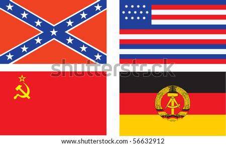 Confederate, old USA, USSR, and GDR flags. Raster