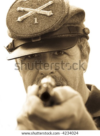 Confederate Soldier holds up Pistol., part of my American Civil War series