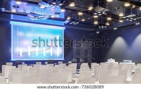 Conference hall. Collection. Meeting room. Presentation room. Modern big hall. 3d Illustration.