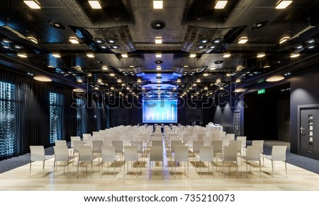 Conference hall. Collection. Meeting room. Presentation room. Modern big hall. Illustration.