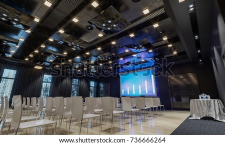 Conference hall. Meeting room. Presentation room. Modern big hall. 3d Illustration.