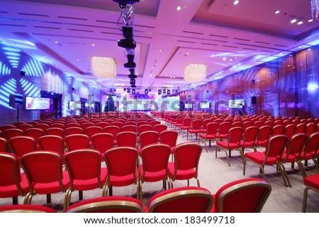 conference  hall with red...