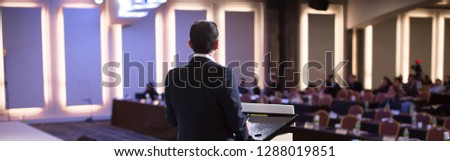 Conference Meeting Seminar Where Audience Listens to Lecturer for Training. Corporate Manager Speaker Gives Business Technology and Forecast. Group of People Hear Presenter Give Speech. #1288019851