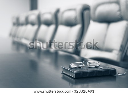 Conference room before meeting, blue toning